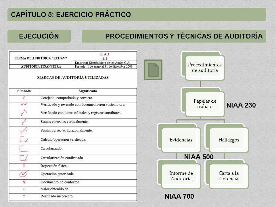 CAPÍTULO 5: EJERCICIO PRÁCTICO EJECUCIÓNMARCAS DE AUDITORÍA Procedimientos de auditoría Papeles de trabajo Evidencias Informe de Auditoría Hallazgos Carta a la Gerencia NIAA 230 NIAA 500 NIAA 700 PROCEDIMIENTOS Y TÉCNICAS DE AUDITORÍA