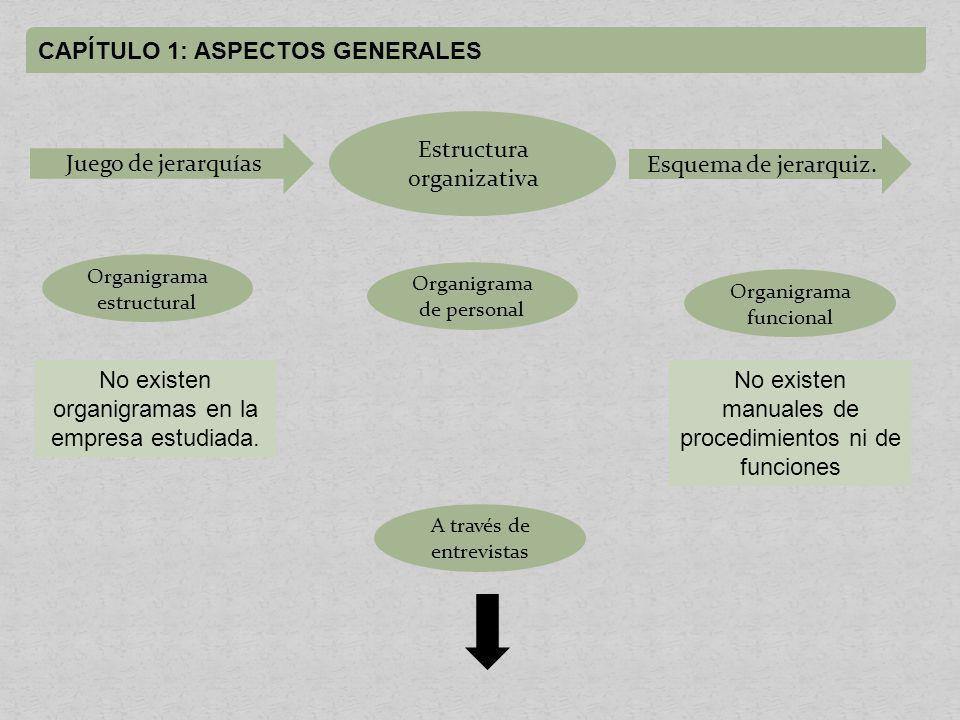 CAPÍTULO 1: ASPECTOS GENERALES Estructura organizativa Organigrama estructural Organigrama de personal Organigrama funcional No existen organigramas en la empresa estudiada.