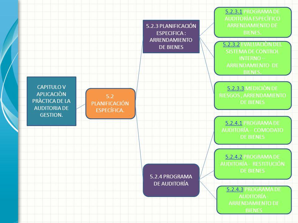 CAPITULO V APLICACIÒN PRÀCTICA DE LA AUDITORIA DE GESTION. 5.2.3 PLANIFICACIÓN ESPECIFICA : ARRENDAMIENTO DE BIENES 5.2 PLANIFICACIÓN ESPECÍFICA. 5.2.