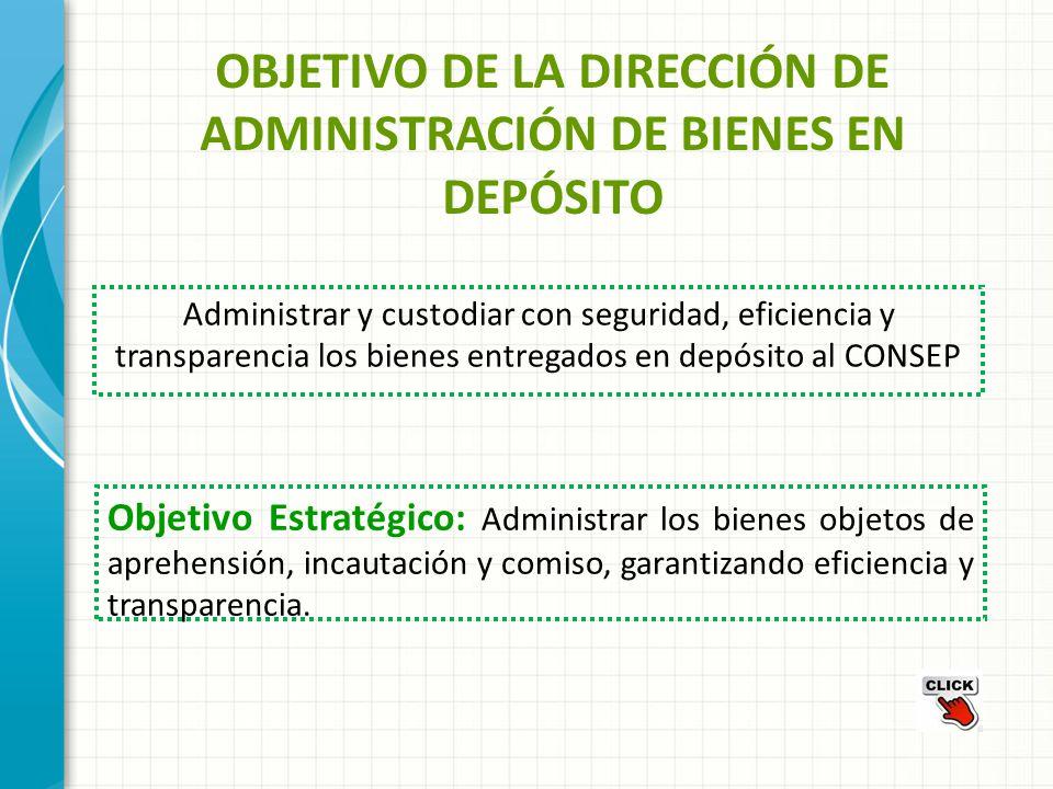 OBJETIVO DE LA DIRECCIÓN DE ADMINISTRACIÓN DE BIENES EN DEPÓSITO Administrar y custodiar con seguridad, eficiencia y transparencia los bienes entregad