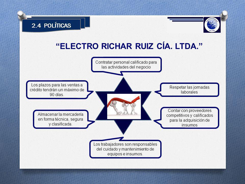 2.4 POLÍTICAS ELECTRO RICHAR RUIZ CÍA. LTDA. Respetar las jornadas laborales Contar con proveedores competitivos y calificados para la adquisición de
