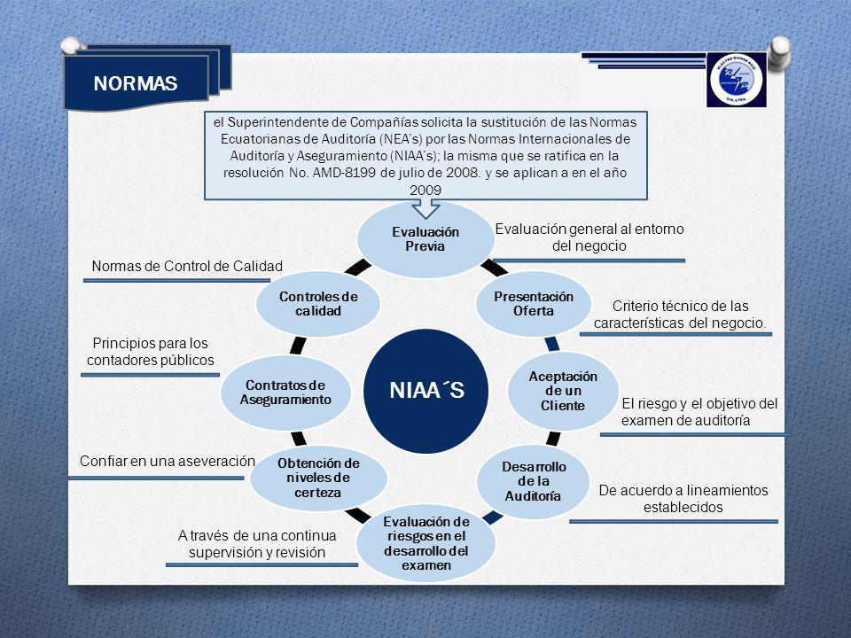 NIAA´S Evaluación Previa Presentación Oferta Aceptación de un Cliente Desarrollo de la Auditoría Evaluación de riesgos en el desarrollo del examen Obt