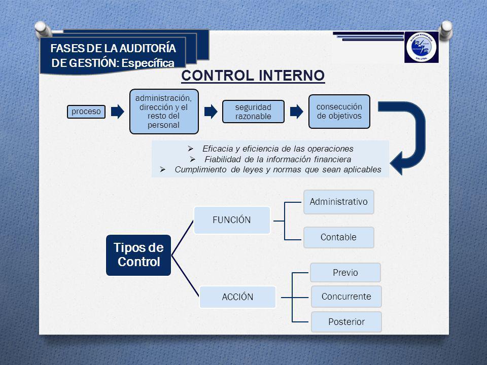 FASES DE LA AUDITORÍA DE GESTIÓN: Específica CONTROL INTERNO Tipos de Control FUNCIÓN ACCIÓN proceso administración, dirección y el resto del personal