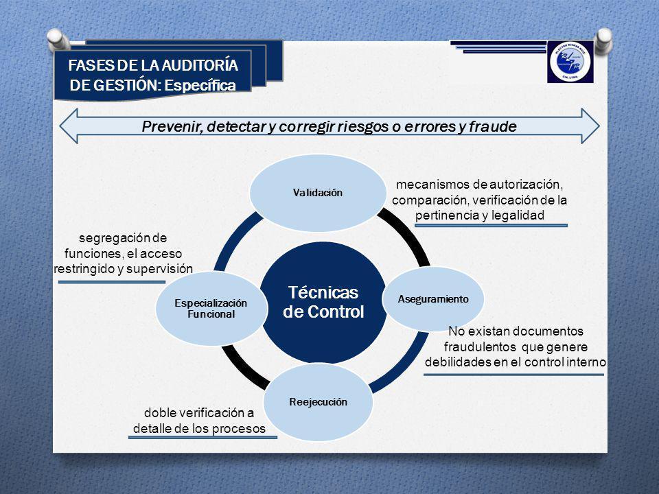 Técnicas de Control Validación Aseguramiento Reejecución Especialización Funcional mecanismos de autorización, comparación, verificación de la pertine