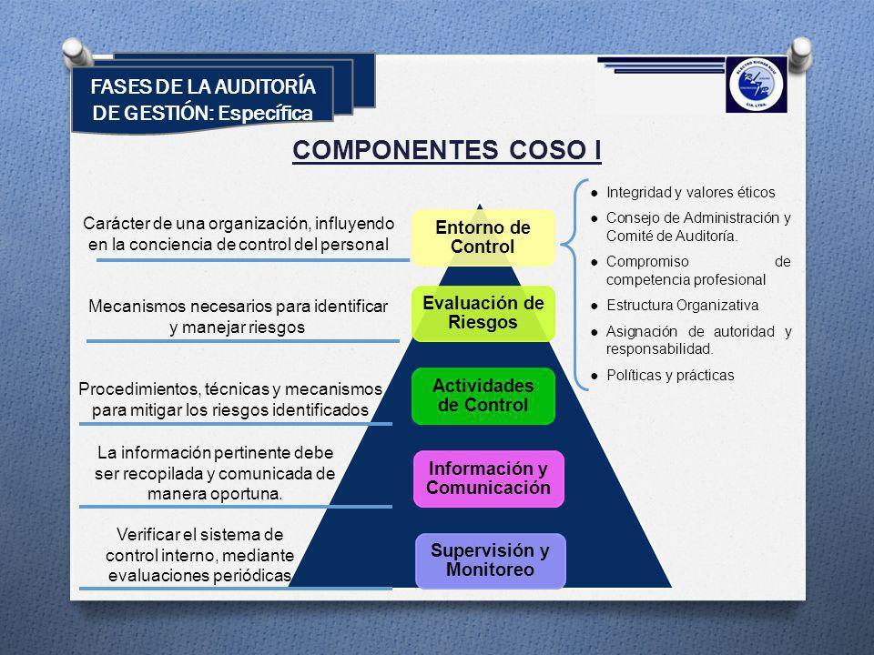 Entorno de Control Evaluación de Riesgos Actividades de Control Información y Comunicación Supervisión y Monitoreo COMPONENTES COSO I Carácter de una