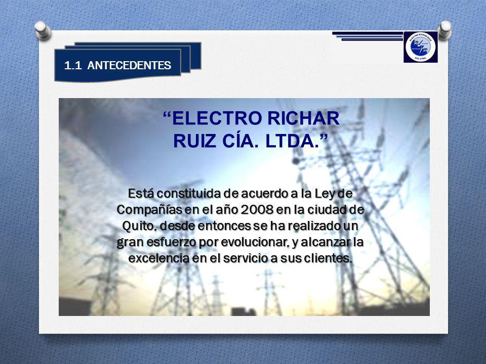 1.1 ANTECEDENTES Está constituida de acuerdo a la Ley de Compañías en el año 2008 en la ciudad de Quito, desde entonces se ha realizado un gran esfuer