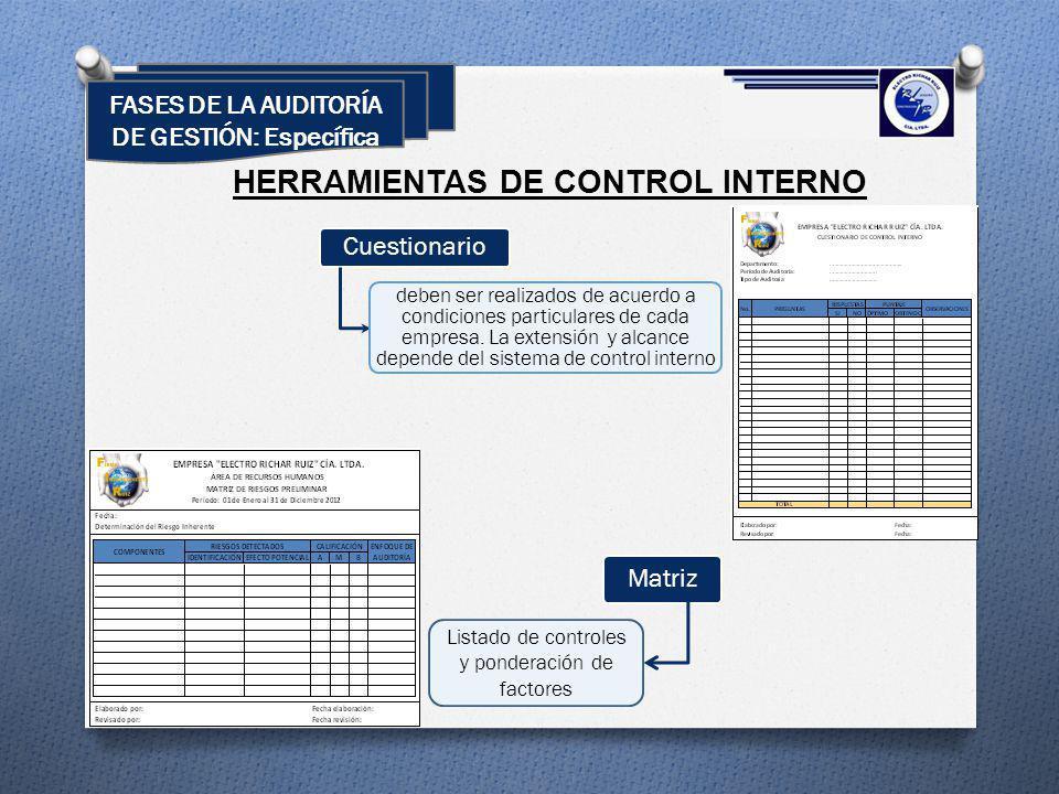 HERRAMIENTAS DE CONTROL INTERNO Cuestionario deben ser realizados de acuerdo a condiciones particulares de cada empresa. La extensión y alcance depend