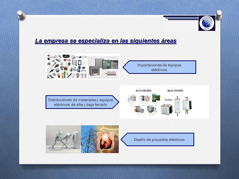 La empresa se especializa en las siguientes áreas Distribuidores de materiales y equipos eléctricos de alta y baja tensión Importaciones de equipos el