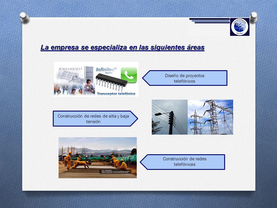 La empresa se especializa en las siguientes áreas Construcción de redes de alta y baja tensión Diseño de proyectos telefónicos Construcción de redes t