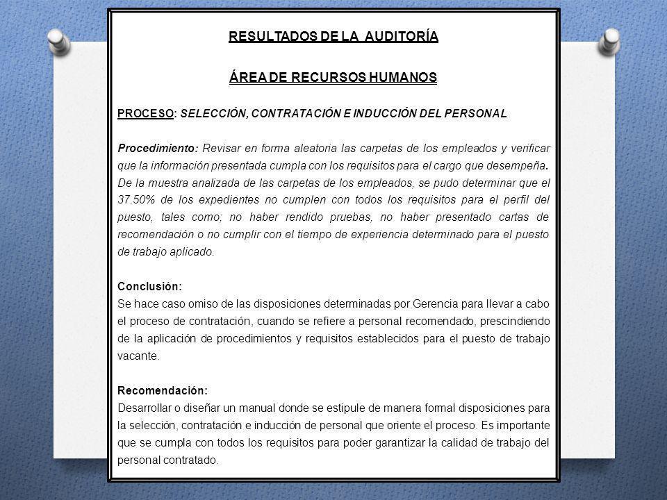 RESULTADOS DE LA AUDITORÍA ÁREA DE RECURSOS HUMANOS PROCESO: SELECCIÓN, CONTRATACIÓN E INDUCCIÓN DEL PERSONAL Procedimiento: Revisar en forma aleatori