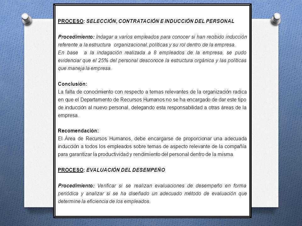 PROCESO: SELECCIÓN, CONTRATACIÓN E INDUCCIÓN DEL PERSONAL Procedimiento: Indagar a varios empleados para conocer si han recibido inducción referente a