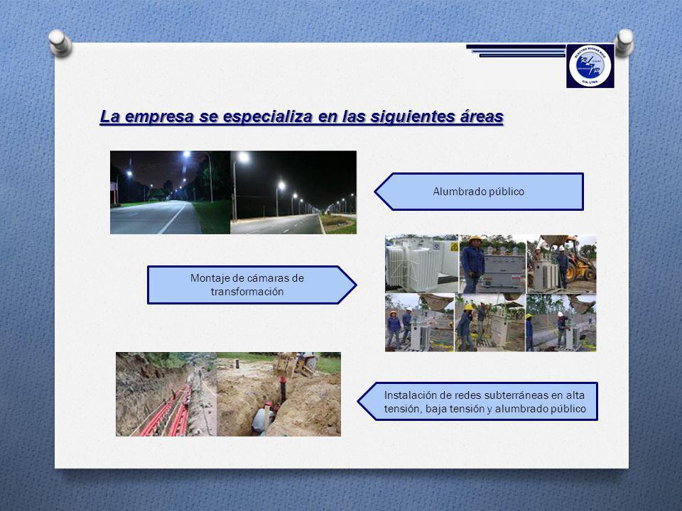 La empresa se especializa en las siguientes áreas Montaje de cámaras de transformación Alumbrado público Instalación de redes subterráneas en alta ten