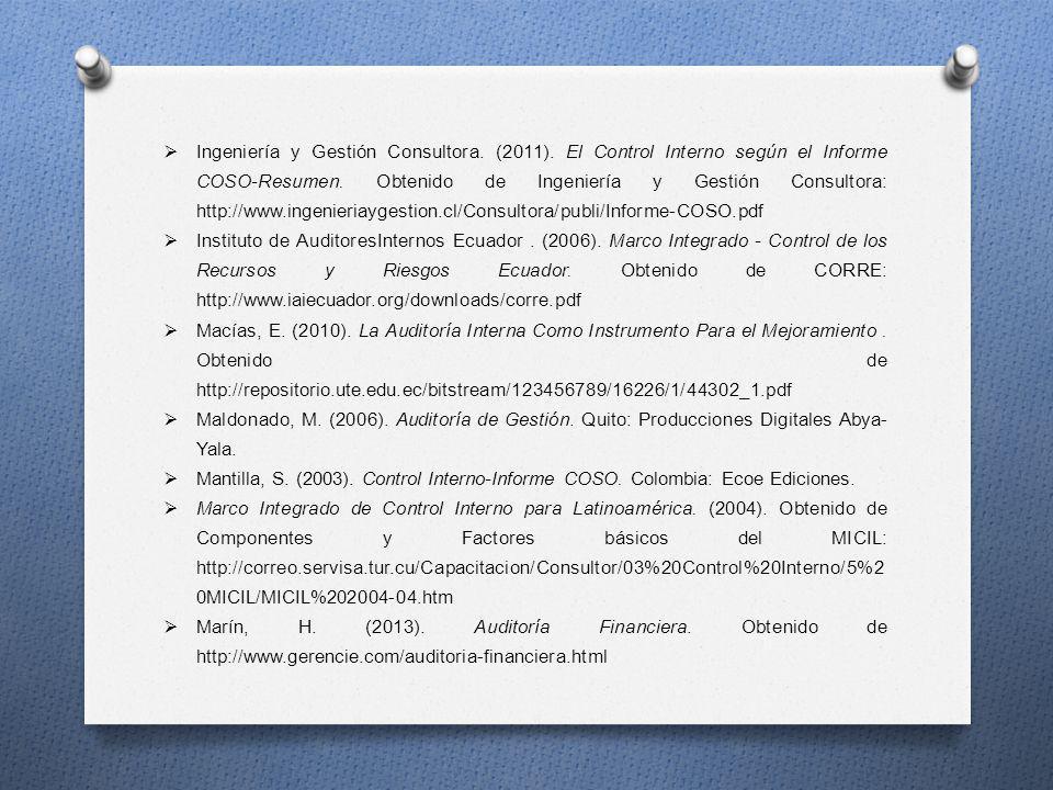 Ingeniería y Gestión Consultora. (2011). El Control Interno según el Informe COSO-Resumen. Obtenido de Ingeniería y Gestión Consultora: http://www.ing