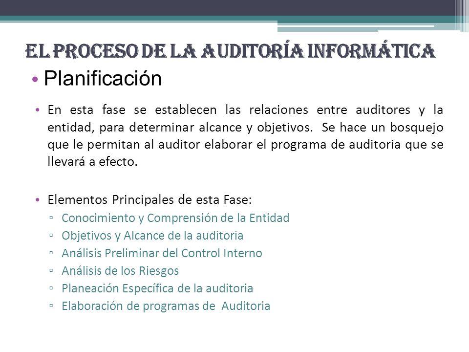 El Proceso de la Auditoría Informática Planificación En esta fase se establecen las relaciones entre auditores y la entidad, para determinar alcance y objetivos.