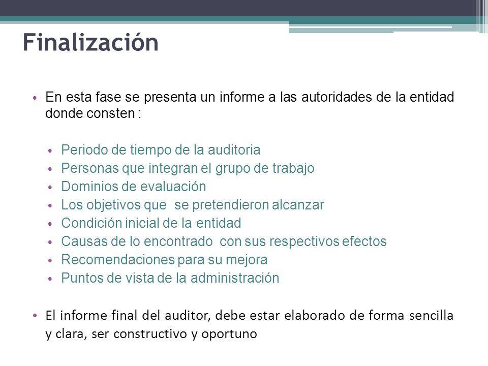 Finalización En esta fase se presenta un informe a las autoridades de la entidad donde consten : Periodo de tiempo de la auditoria Personas que integr