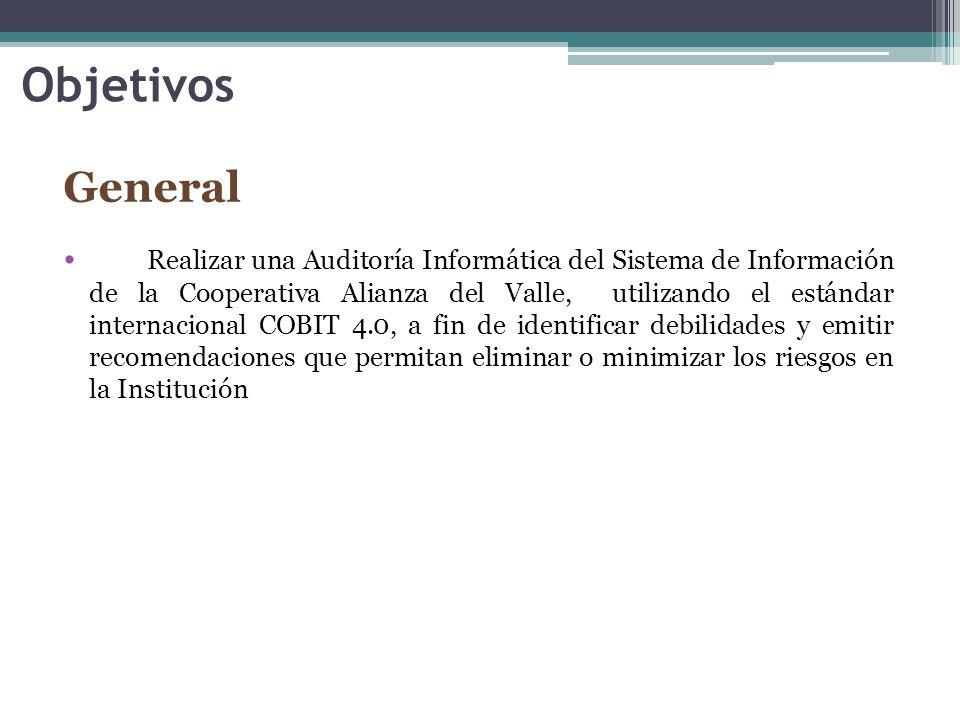 Objetivos General Realizar una Auditoría Informática del Sistema de Información de la Cooperativa Alianza del Valle, utilizando el estándar internacional COBIT 4.0, a fin de identificar debilidades y emitir recomendaciones que permitan eliminar o minimizar los riesgos en la Institución