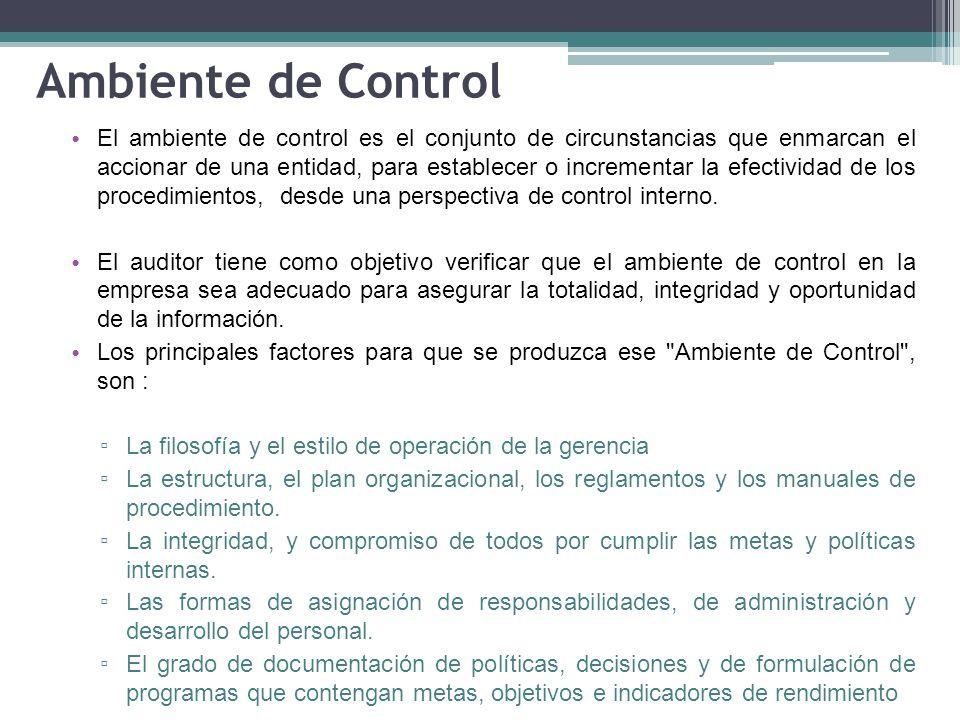 Ambiente de Control El ambiente de control es el conjunto de circunstancias que enmarcan el accionar de una entidad, para establecer o incrementar la efectividad de los procedimientos, desde una perspectiva de control interno.