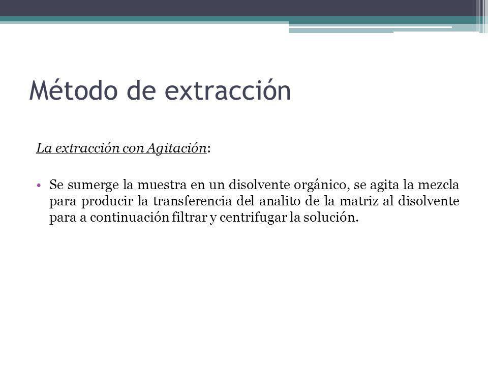 La extracción con Agitación: Se sumerge la muestra en un disolvente orgánico, se agita la mezcla para producir la transferencia del analito de la matr