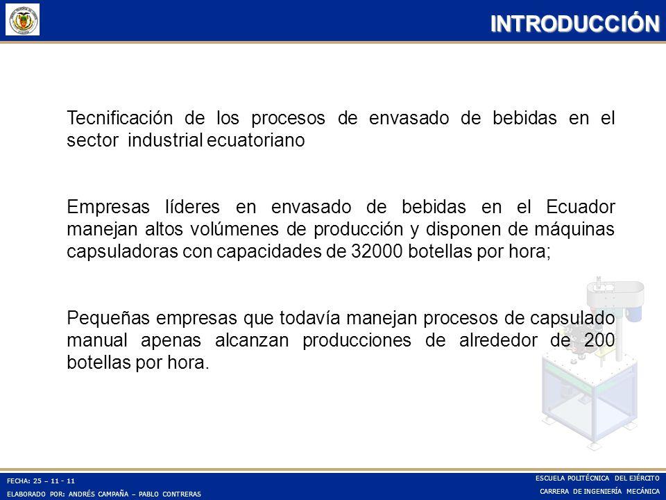 FECHA: 25 – 11 - 11 ELABORADO POR: ANDRÉS CAMPAÑA – PABLO CONTRERAS ESCUELA POLITÉCNICA DEL EJÉRCITO CARRERA DE INGENIERÍA MECÁNICA INTRODUCCIÓN Tecni