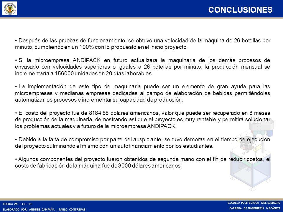 FECHA: 25 – 11 - 11 ELABORADO POR: ANDRÉS CAMPAÑA – PABLO CONTRERAS ESCUELA POLITÉCNICA DEL EJÉRCITO CARRERA DE INGENIERÍA MECÁNICA CONCLUSIONES Despu
