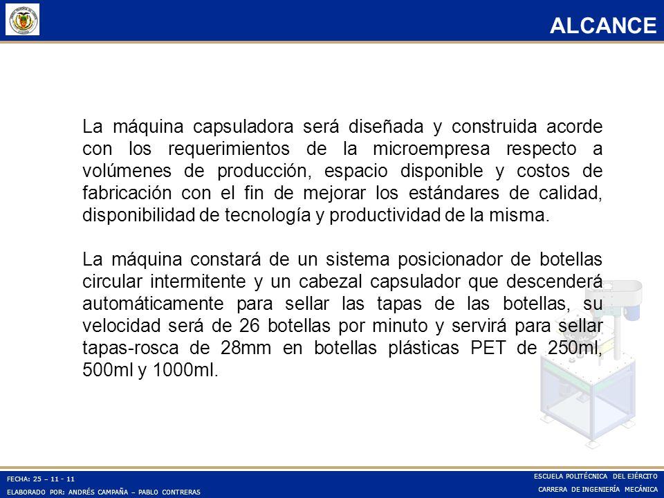 FECHA: 25 – 11 - 11 ELABORADO POR: ANDRÉS CAMPAÑA – PABLO CONTRERAS ESCUELA POLITÉCNICA DEL EJÉRCITO CARRERA DE INGENIERÍA MECÁNICA ALCANCE La máquina