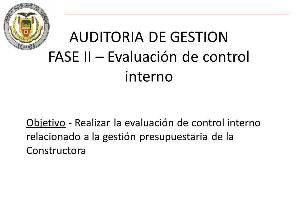 AUDITORIA DE GESTION FASE II – Evaluación de control interno Objetivo - Realizar la evaluación de control interno relacionado a la gestión presupuestaria de la Constructora