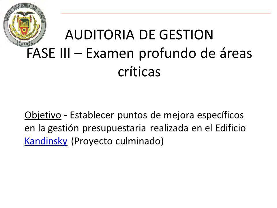 AUDITORIA DE GESTION FASE III – Examen profundo de áreas críticas Objetivo - Establecer puntos de mejora específicos en la gestión presupuestaria realizada en el Edificio Kandinsky (Proyecto culminado) Kandinsky