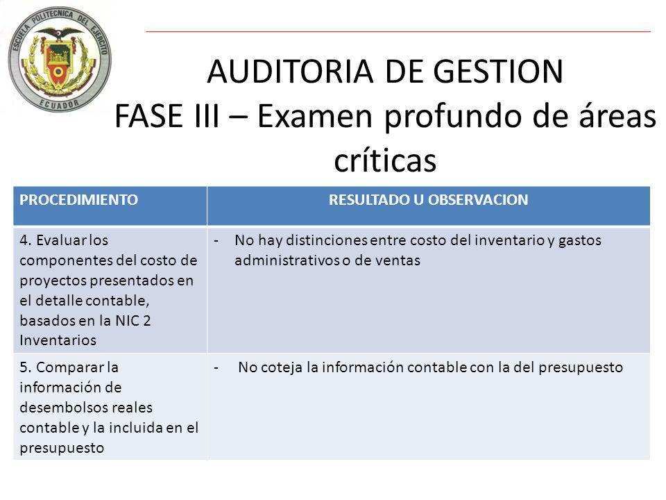 AUDITORIA DE GESTION FASE III – Examen profundo de áreas críticas PROCEDIMIENTORESULTADO U OBSERVACION 4.
