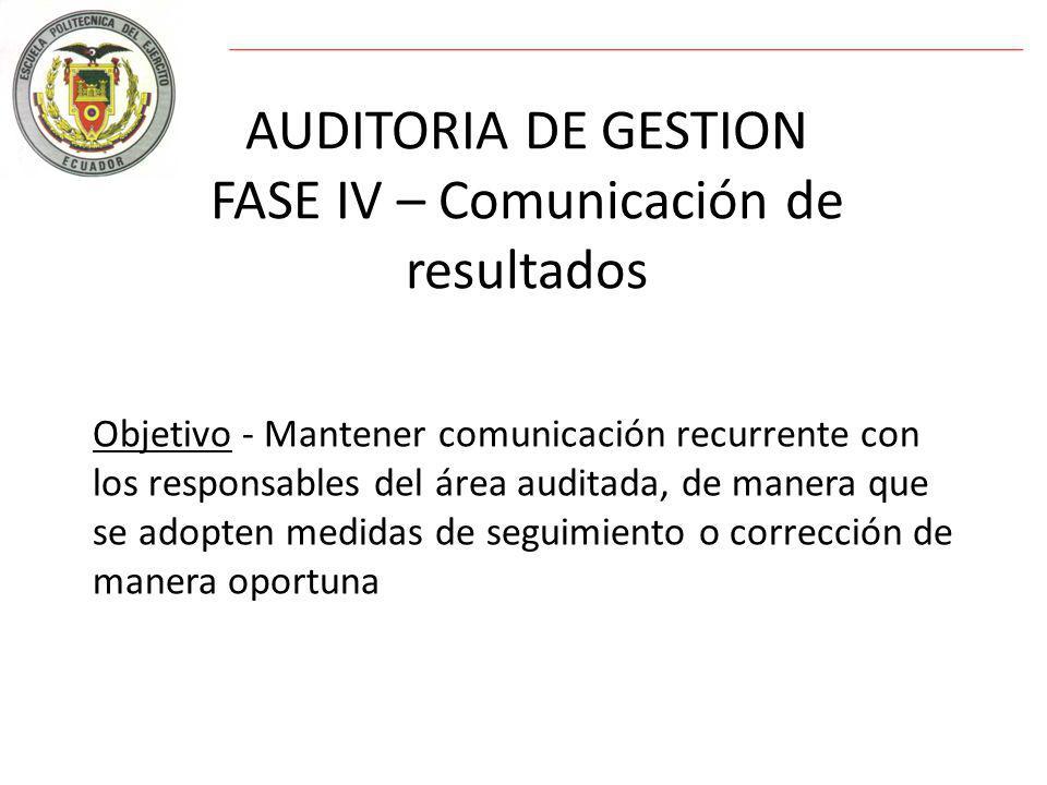 AUDITORIA DE GESTION FASE IV – Comunicación de resultados Objetivo - Mantener comunicación recurrente con los responsables del área auditada, de manera que se adopten medidas de seguimiento o corrección de manera oportuna