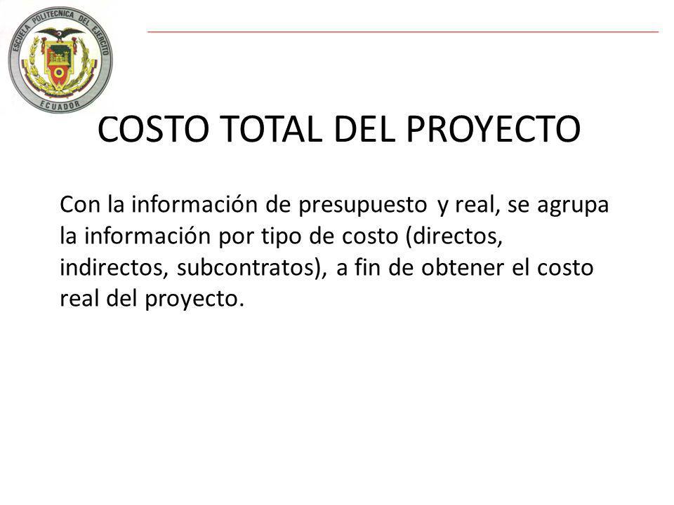 COSTO TOTAL DEL PROYECTO Con la información de presupuesto y real, se agrupa la información por tipo de costo (directos, indirectos, subcontratos), a fin de obtener el costo real del proyecto.