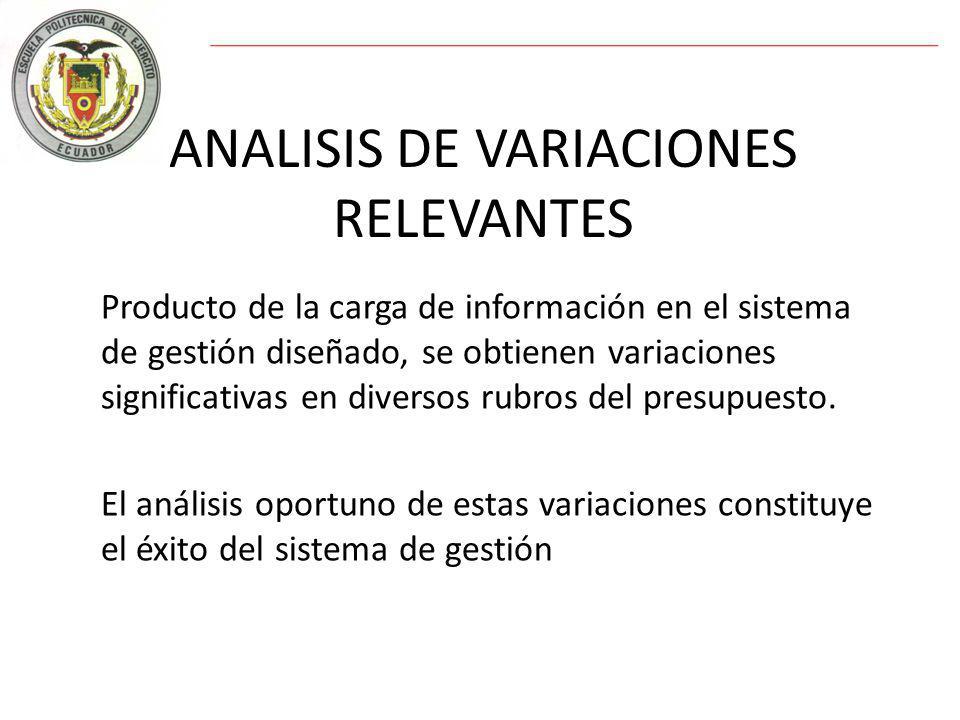 ANALISIS DE VARIACIONES RELEVANTES Producto de la carga de información en el sistema de gestión diseñado, se obtienen variaciones significativas en diversos rubros del presupuesto.