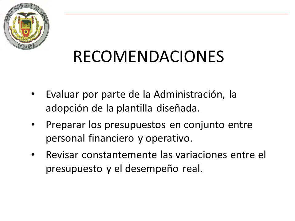 RECOMENDACIONES Evaluar por parte de la Administración, la adopción de la plantilla diseñada.