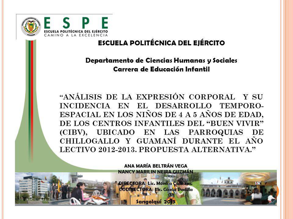 ESCUELA POLITÉCNICA DEL EJÉRCITO Departamento de Ciencias Humanas y Sociales Carrera de Educación Infantil ANÁLISIS DE LA EXPRESIÓN CORPORAL Y SU INCI