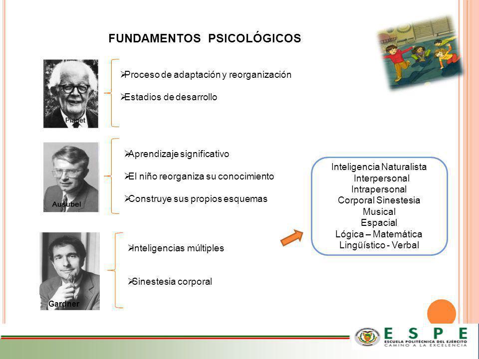 FUNDAMENTOS PSICOLÓGICOS Proceso de adaptación y reorganización Estadios de desarrollo Aprendizaje significativo El niño reorganiza su conocimiento Co