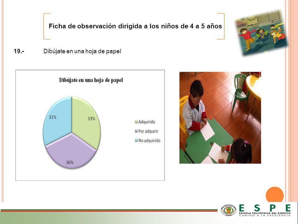 Ficha de observación dirigida a los niños de 4 a 5 años 19.-Dibújate en una hoja de papel