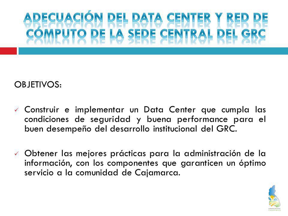 OBJETIVOS: Construir e implementar un Data Center que cumpla las condiciones de seguridad y buena performance para el buen desempeño del desarrollo in