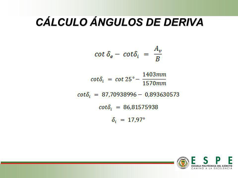 CÁLCULO ÁNGULOS DE DERIVA