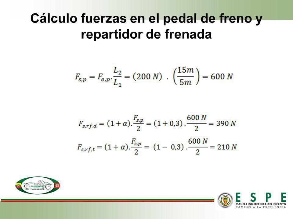 Cálculo fuerzas en el pedal de freno y repartidor de frenada