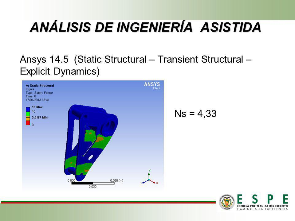 ANÁLISIS DE INGENIERÍA ASISTIDA Ansys 14.5 (Static Structural – Transient Structural – Explicit Dynamics) Ns = 4,33