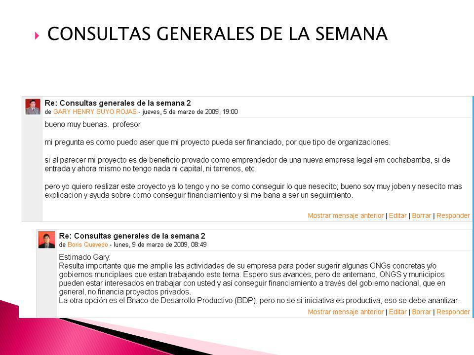 CONSULTAS GENERALES DE LA SEMANA