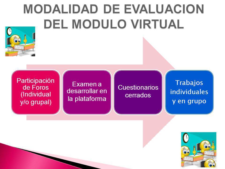 Participación de Foros (Individual y/o grupal) Examen a desarrollar en la plataforma Cuestionarios cerrados Trabajos individuales y en grupo
