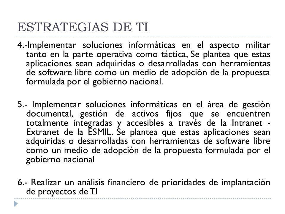ESTRATEGIAS DE TI 4.-Implementar soluciones informáticas en el aspecto militar tanto en la parte operativa como táctica, Se plantea que estas aplicaci
