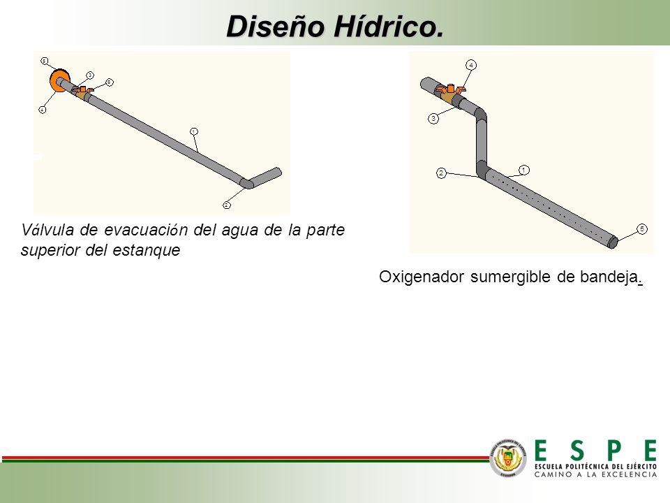 Diseño Hídrico. V á lvula de evacuaci ó n del agua de la parte superior del estanque Oxigenador sumergible de bandeja.
