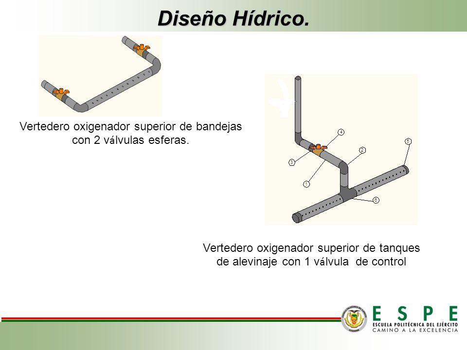 Diseño Hídrico. Vertedero oxigenador superior de bandejas con 2 v á lvulas esferas. Vertedero oxigenador superior de tanques de alevinaje con 1 v á lv