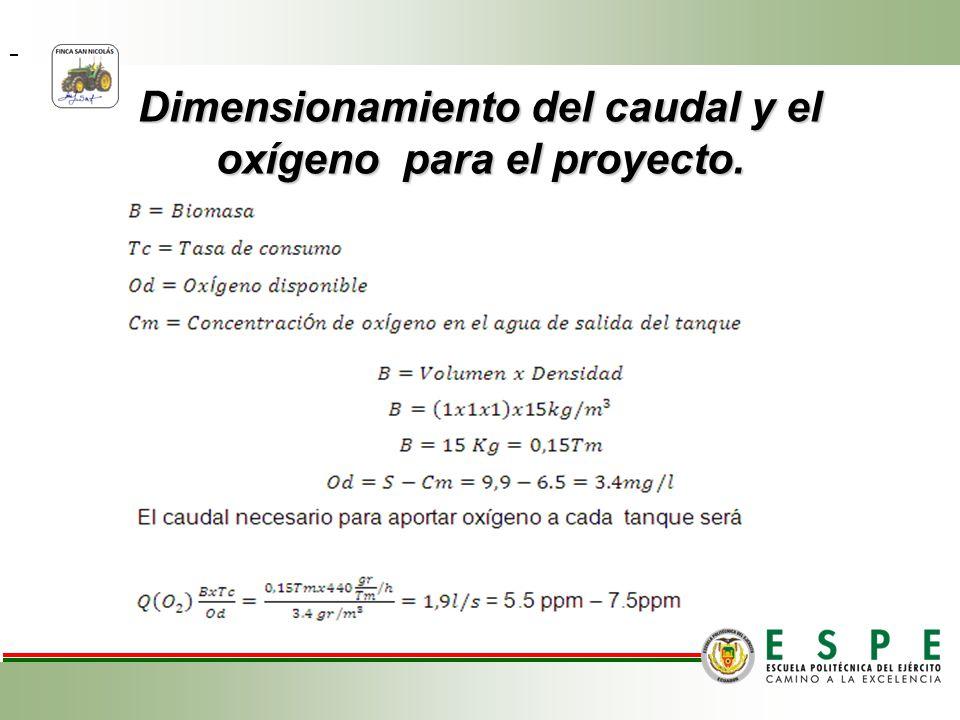 Dimensionamiento del caudal y el oxígeno para el proyecto.