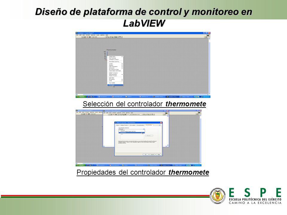 Diseño de plataforma de control y monitoreo en LabVIEW Selección del controlador thermomete Propiedades del controlador thermomete
