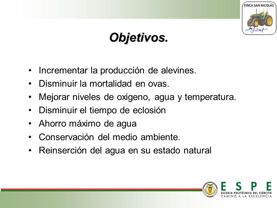 Objetivos. Incrementar la producción de alevines. Disminuir la mortalidad en ovas. Mejorar niveles de oxigeno, agua y temperatura. Disminuir el tiempo