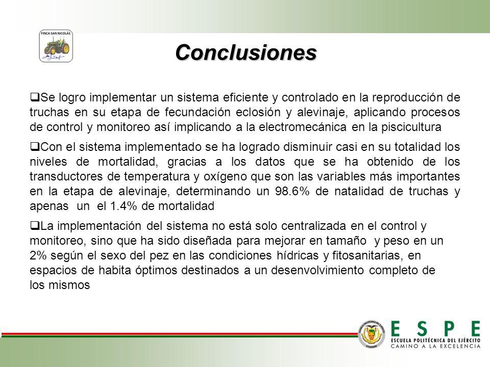 Conclusiones Se logro implementar un sistema eficiente y controlado en la reproducción de truchas en su etapa de fecundación eclosión y alevinaje, apl