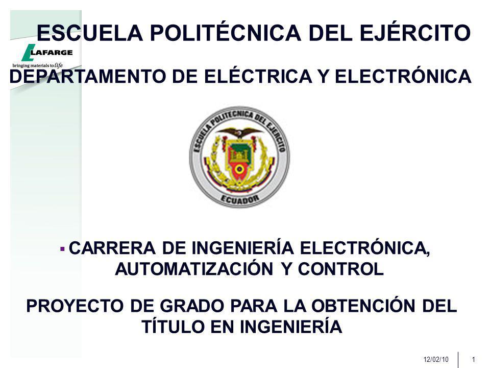 12/02/101 ESCUELA POLITÉCNICA DEL EJÉRCITO DEPARTAMENTO DE ELÉCTRICA Y ELECTRÓNICA CARRERA DE INGENIERÍA ELECTRÓNICA, AUTOMATIZACIÓN Y CONTROL PROYECTO DE GRADO PARA LA OBTENCIÓN DEL TÍTULO EN INGENIERÍA