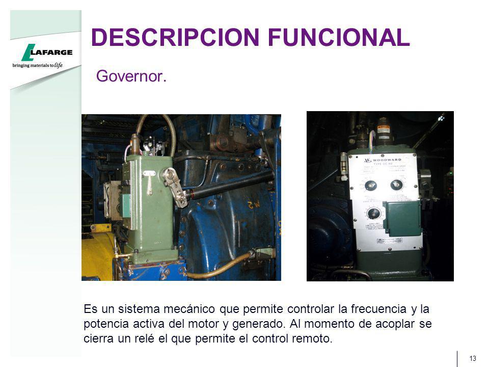 DESCRIPCION FUNCIONAL 13 Governor. Es un sistema mecánico que permite controlar la frecuencia y la potencia activa del motor y generado. Al momento de